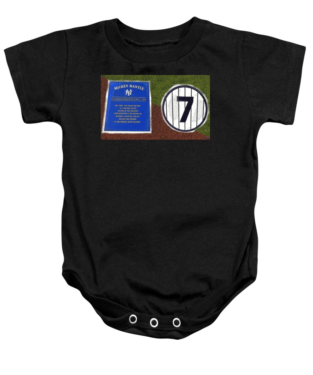 Art Baby Onesie featuring the painting Yankee Legends Number 7 by David Lee Thompson