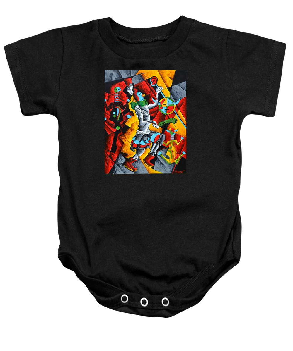 Contemporary Native American Art Baby Onesie featuring the painting Ye'ii Bicheii Dancer Number Two by Andrew Hobson