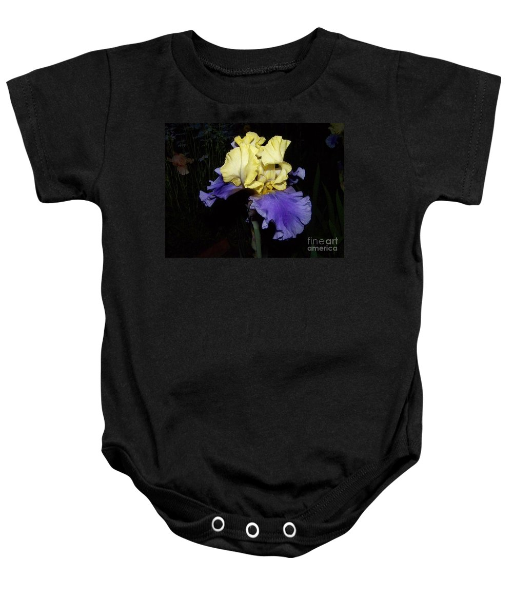 Iris Baby Onesie featuring the photograph Yellow And Blue Iris by Kathy McClure