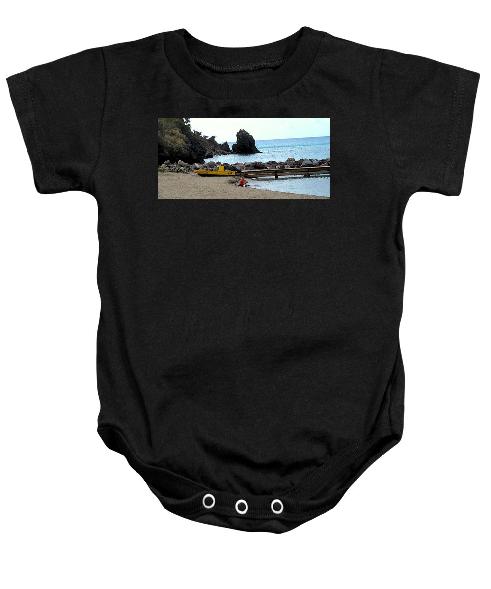 Beach Baby Onesie featuring the photograph Yellow Boat On The Beach by Ian MacDonald