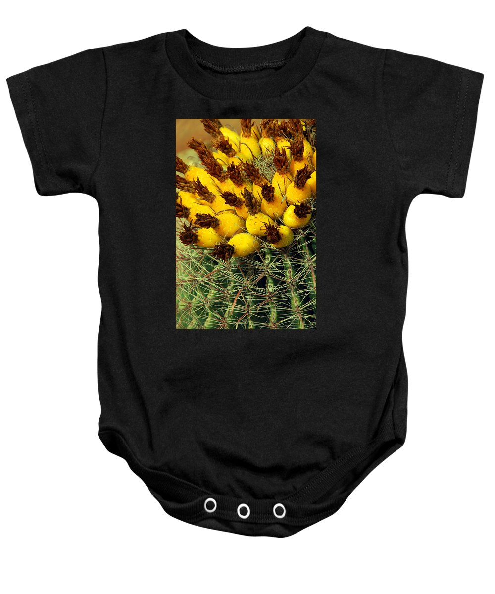 Cactus Baby Onesie featuring the photograph Yellow Cactus by Susanne Van Hulst