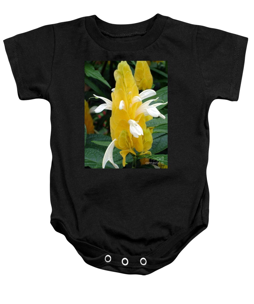 Flower Baby Onesie featuring the photograph Yellow Eruption by Shelley Jones