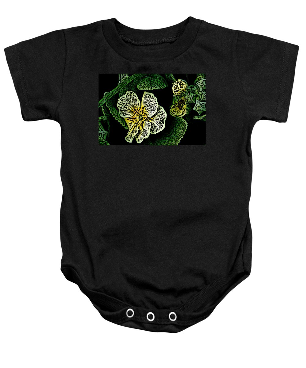 Floral Baby Onesie featuring the digital art Yellow Flower Woodcut by David Lane