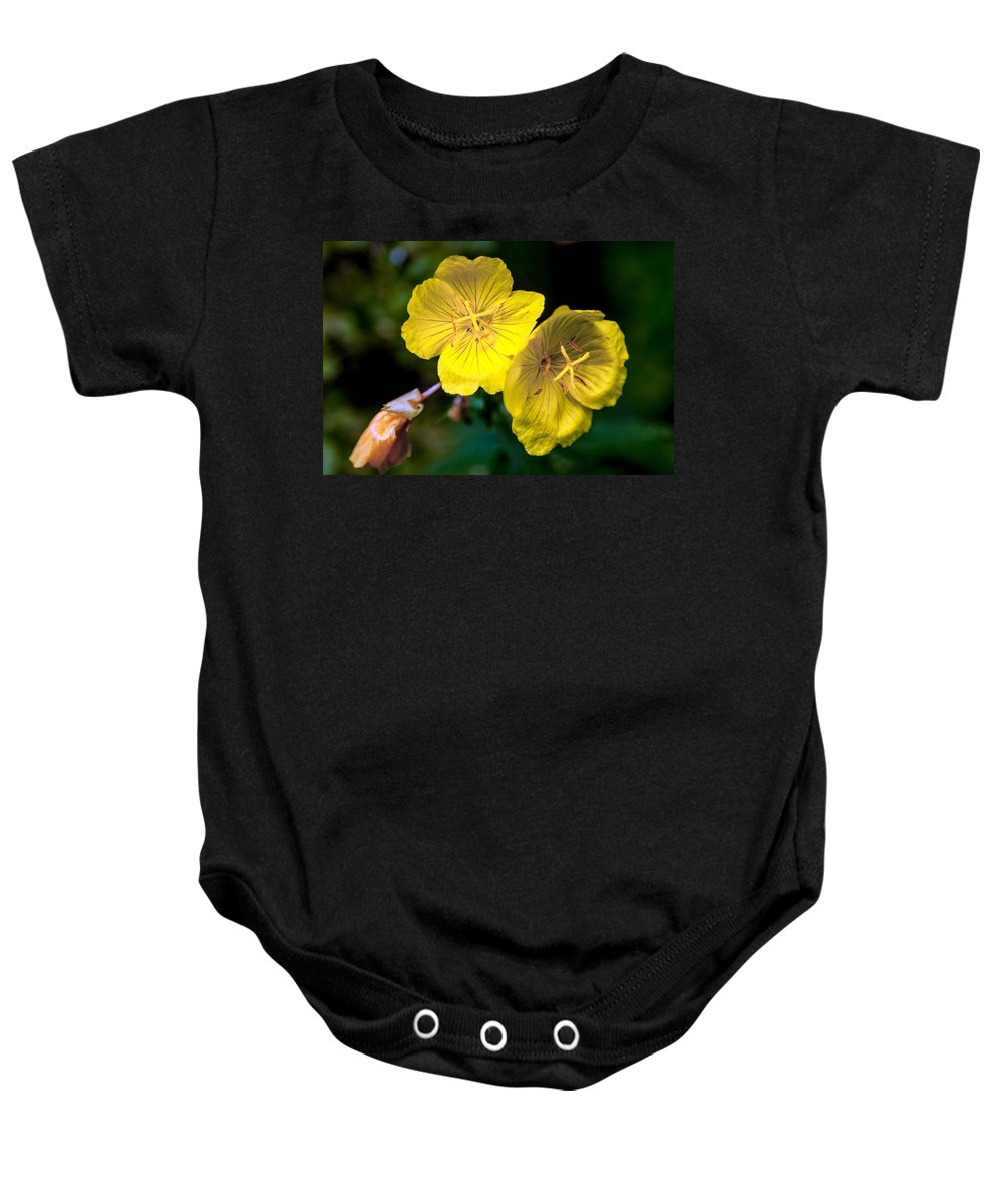 Flower Baby Onesie featuring the photograph Yellow Is Gold Among The Flowers by John Haldane