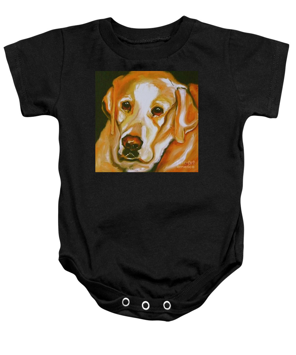 Oil Baby Onesie featuring the painting Yellow Lab Amazing Grace by Susan A Becker