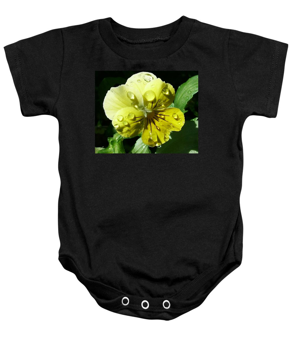 Flower Baby Onesie featuring the photograph Yellow Pansy by Anthony Jones