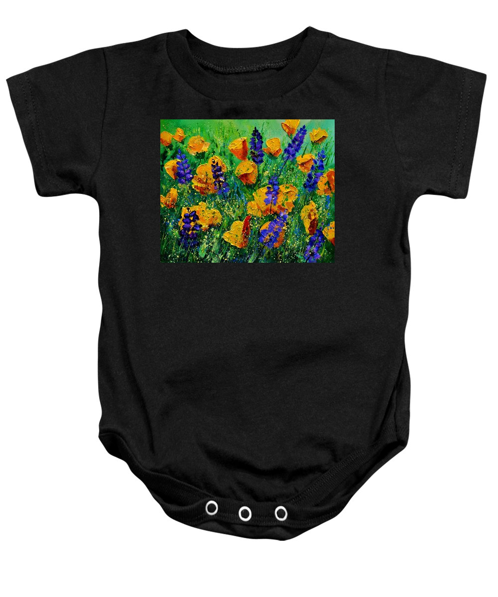 Flowers Baby Onesie featuring the painting Yellow Poppies 560190 by Pol Ledent