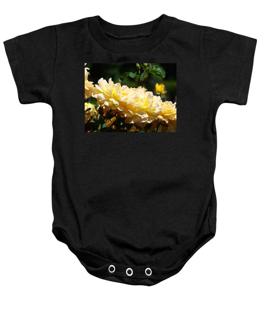 Rose Baby Onesie featuring the photograph Yellow Roses Sunlit Rose Flowers 1 Rose Garden Giclee Artwork Baslee Troutman by Baslee Troutman