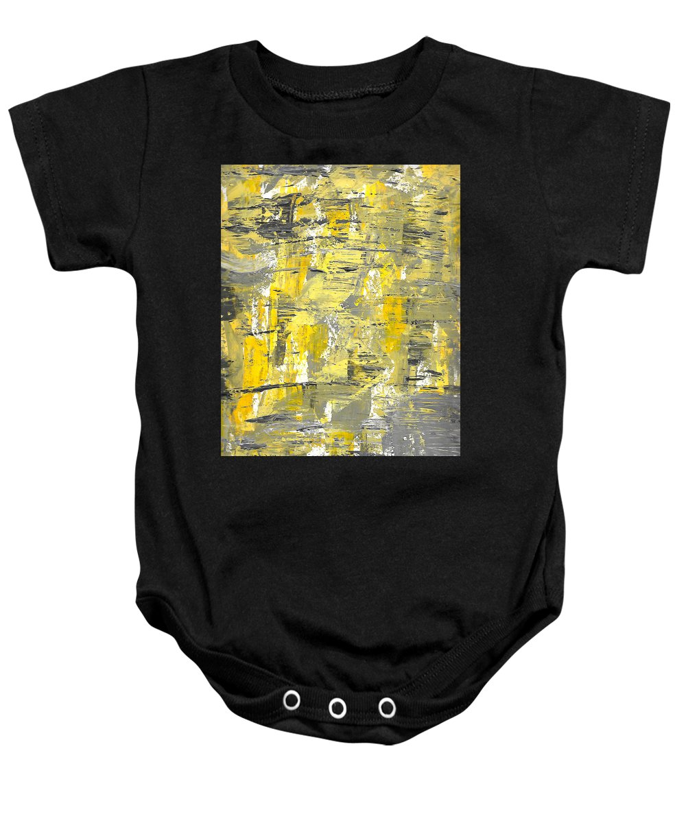 Acrylic Baby Onesie featuring the painting Yellow Sadness by Brejenn Allen