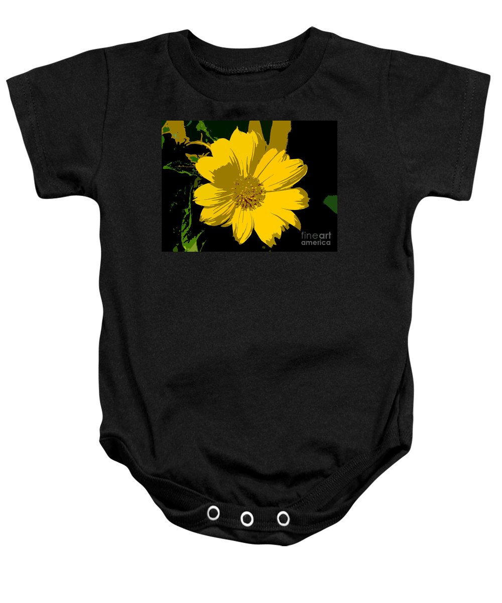 Flower Baby Onesie featuring the photograph Yellow Sunshine Work Number 8 by David Lee Thompson