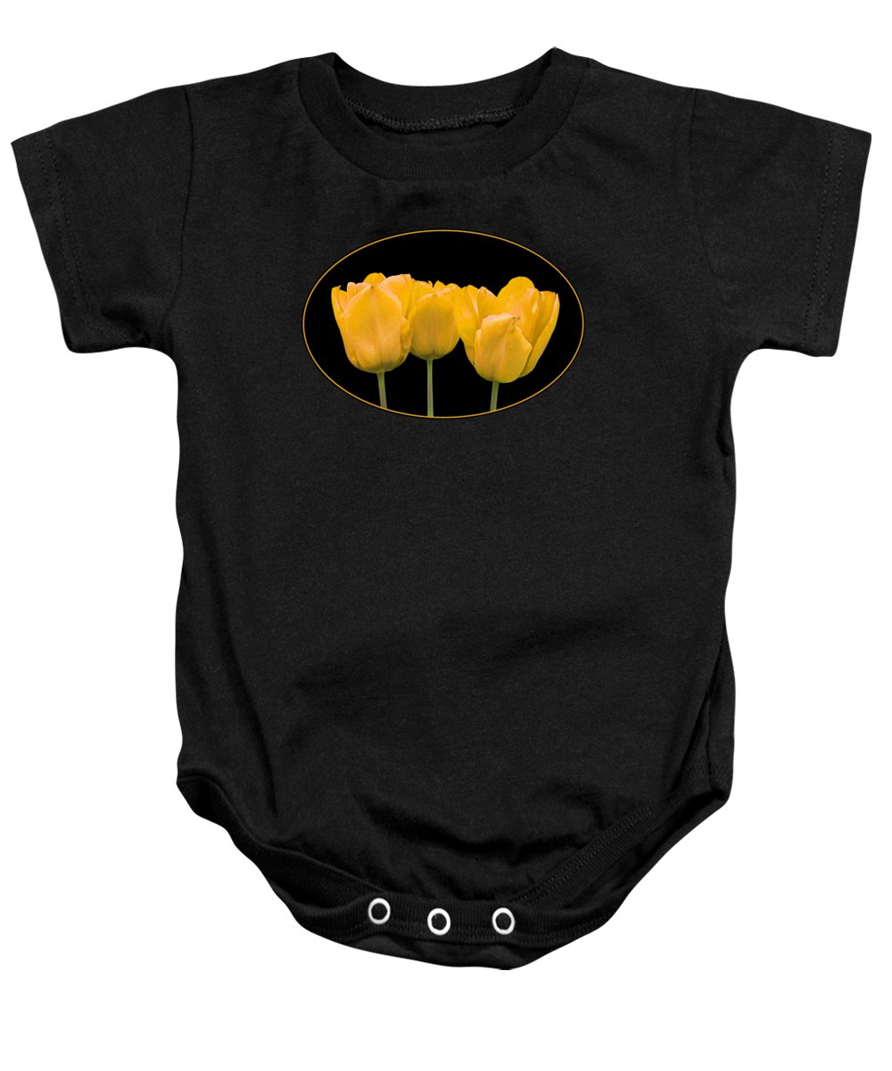 Yellow Flower Baby Onesie featuring the photograph Yellow Tulip Triple by Gill Billington