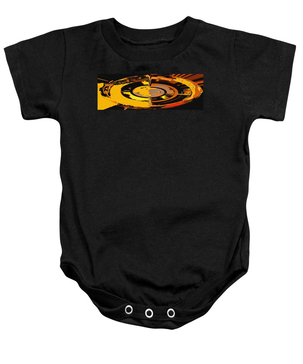 Abstract Baby Onesie featuring the digital art Yellow Vortex by Ian MacDonald