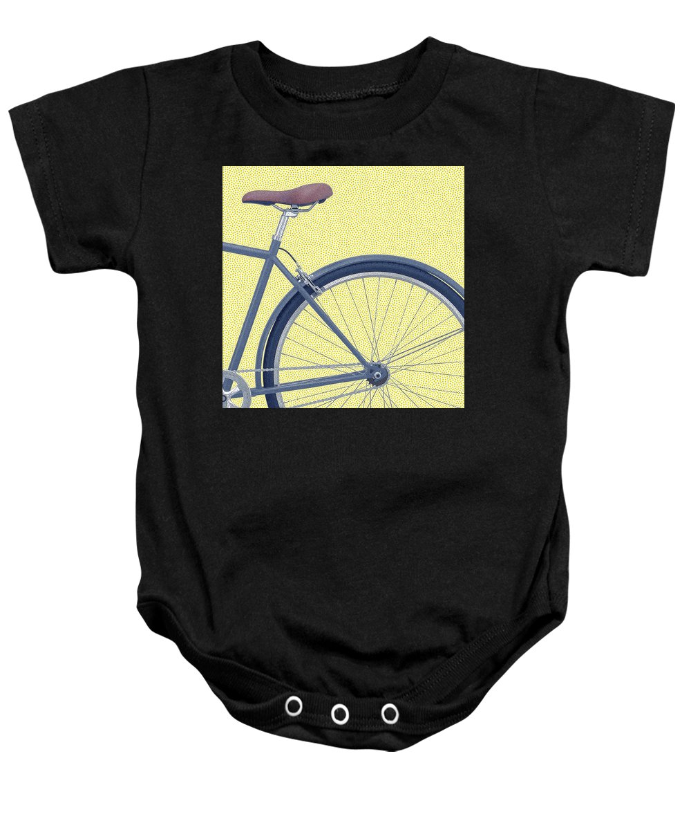 Bicycle Baby Onesie featuring the digital art Yelow Bike by Dorival Moreira