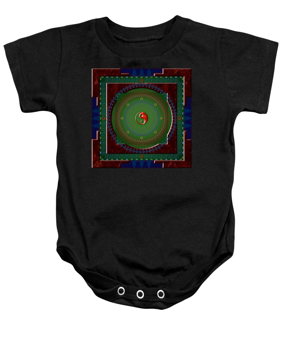 Mandala Baby Onesie featuring the digital art Yin Yang by Stephen Lucas