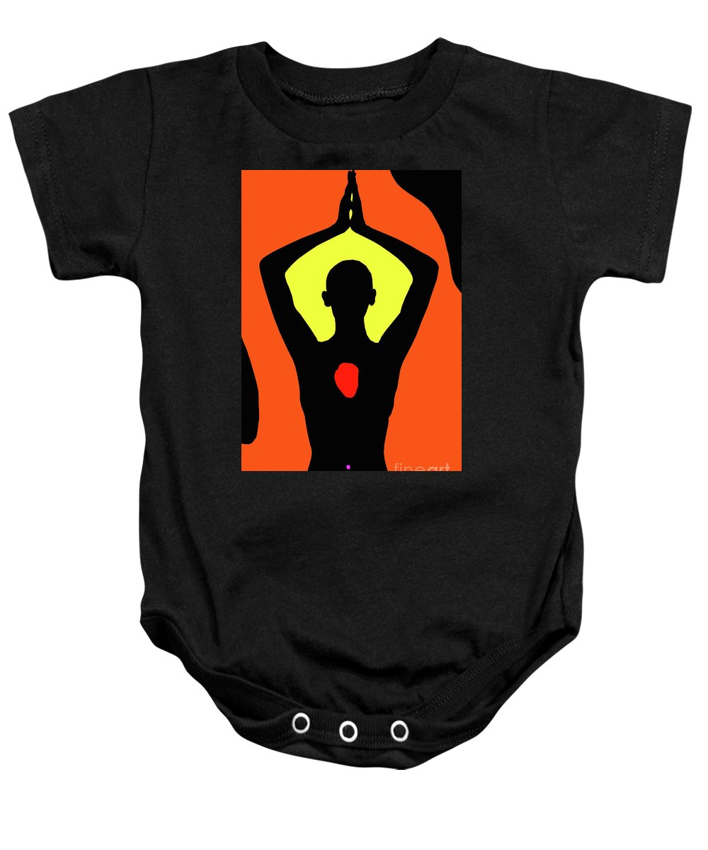Yoga Baby Onesie featuring the digital art Yoga Lotus by Peter Vaccino