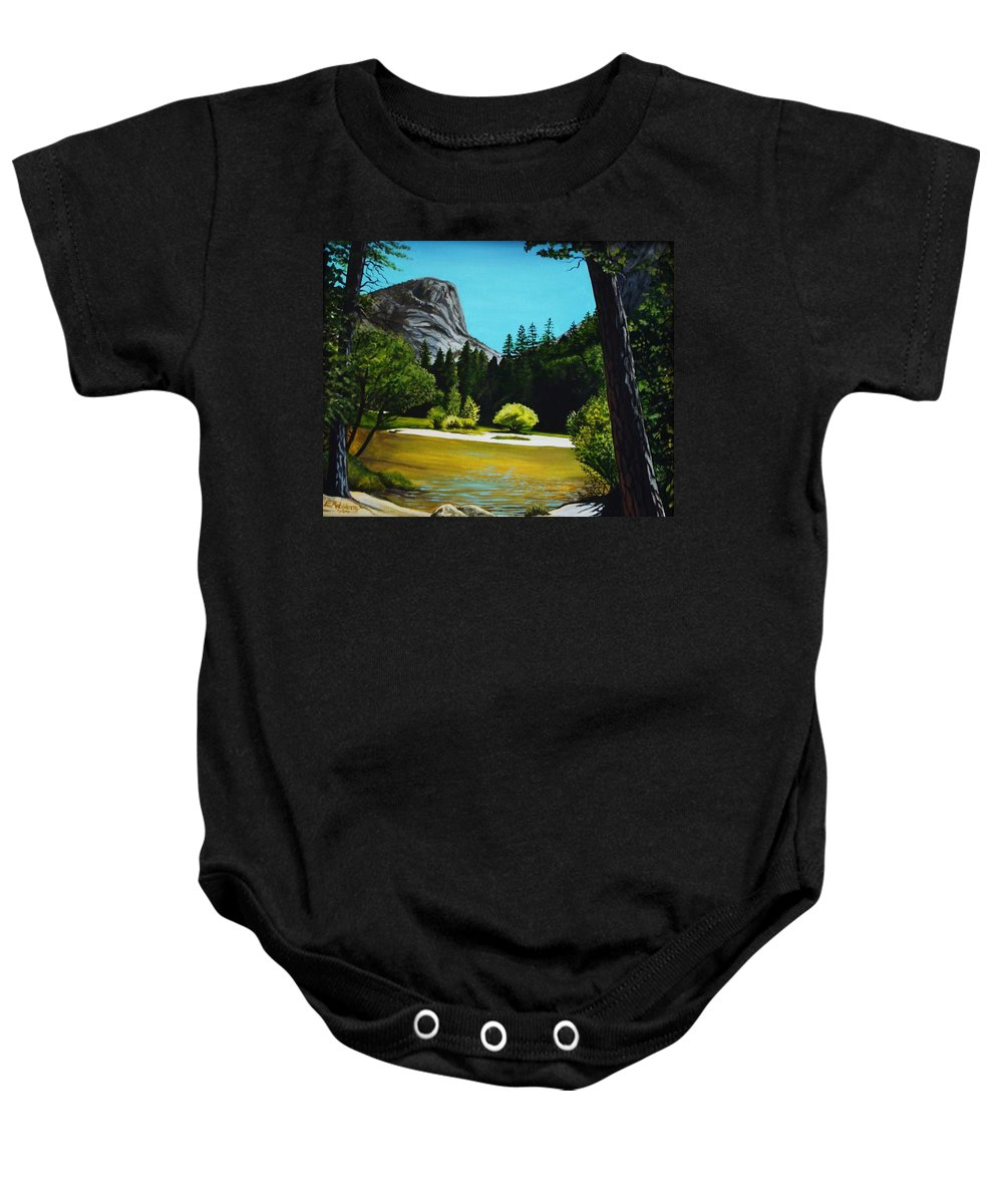 Landscape Baby Onesie featuring the painting Yosemite's Window by Elizabeth Robinette Tyndall