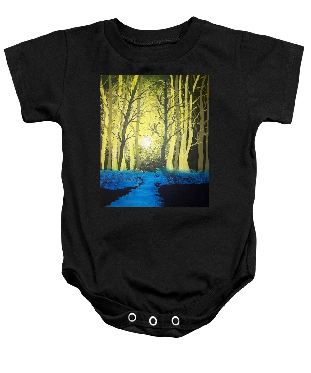 Forest Baby Onesie featuring the painting You Cant See The Forest For The Trees by Laurie Kidd