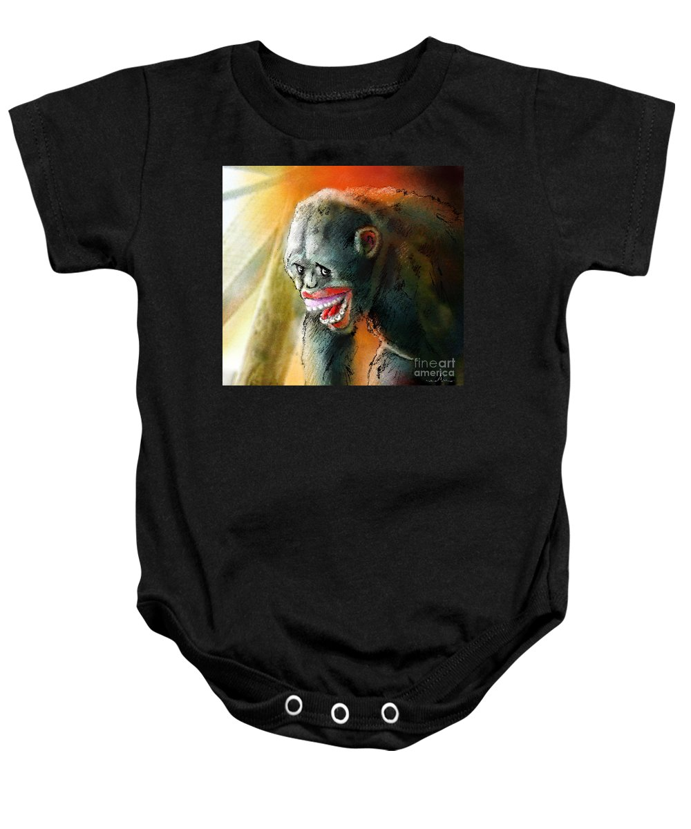 Fun Baby Onesie featuring the painting You Crack Me Up by Miki De Goodaboom
