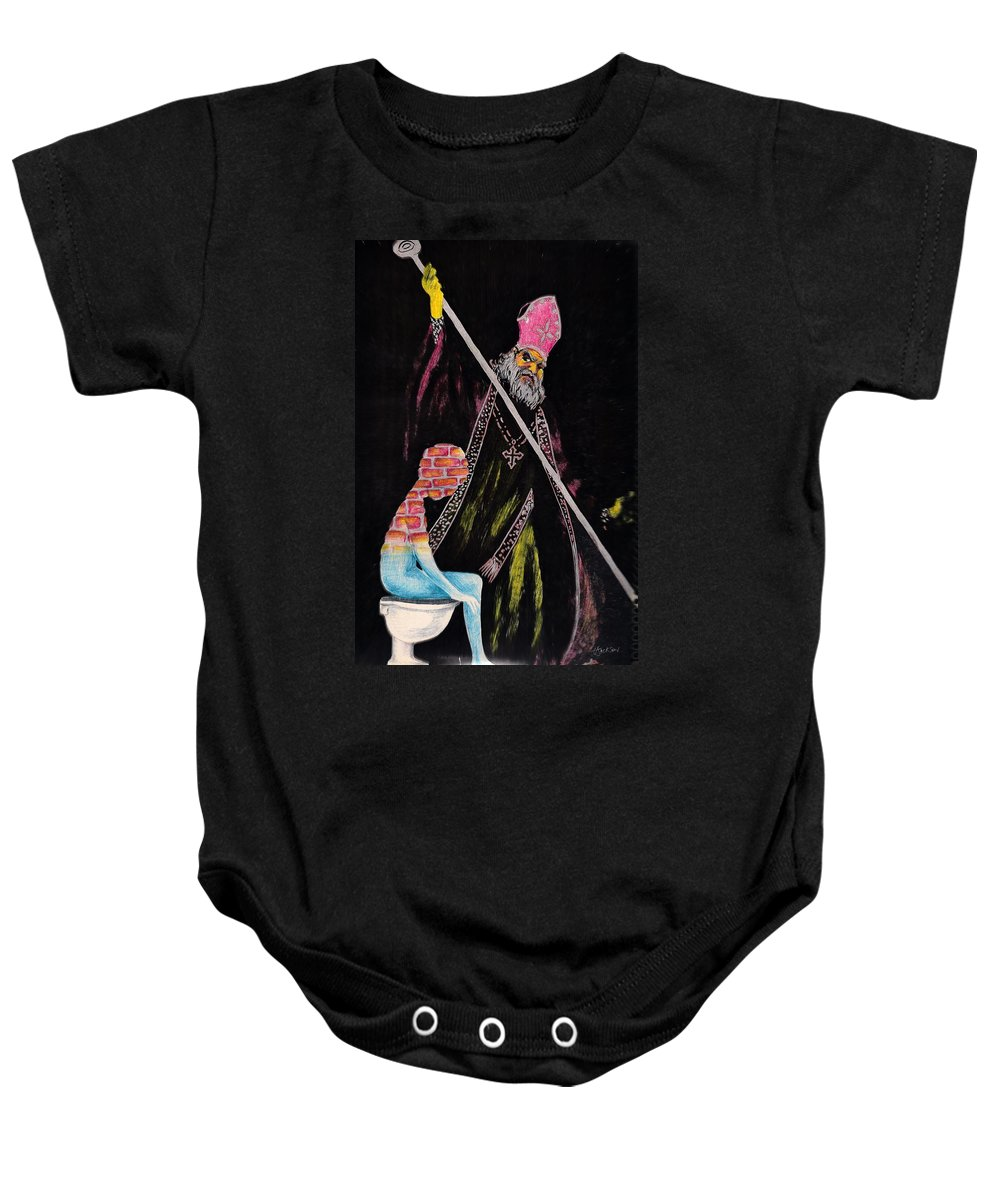 Religion God Salvation Darkness Control Lies Baby Onesie featuring the mixed media You Will Be Saved by Veronica Jackson