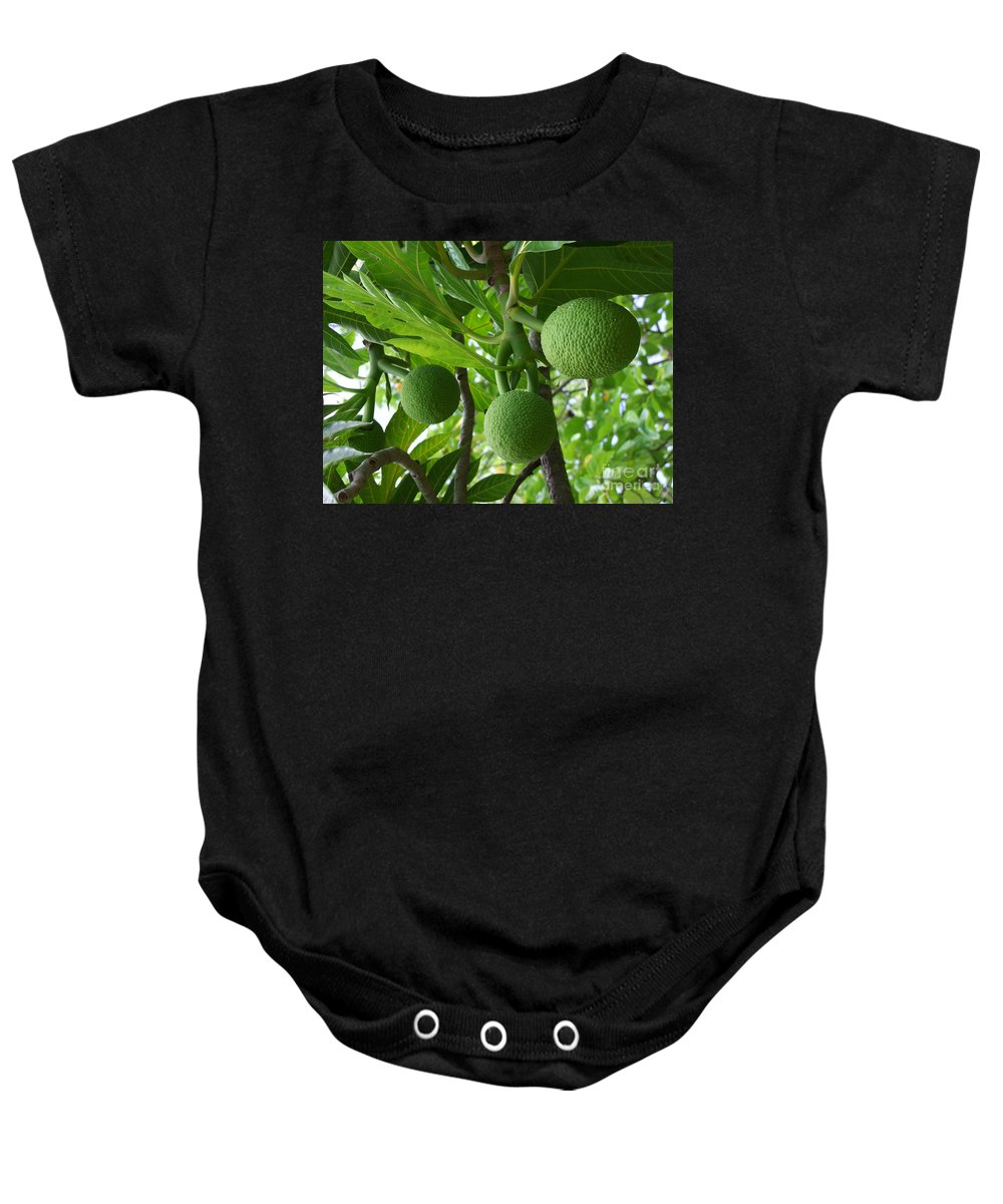 Breadfruit Baby Onesie featuring the photograph Young Breadfruit by Mary Deal