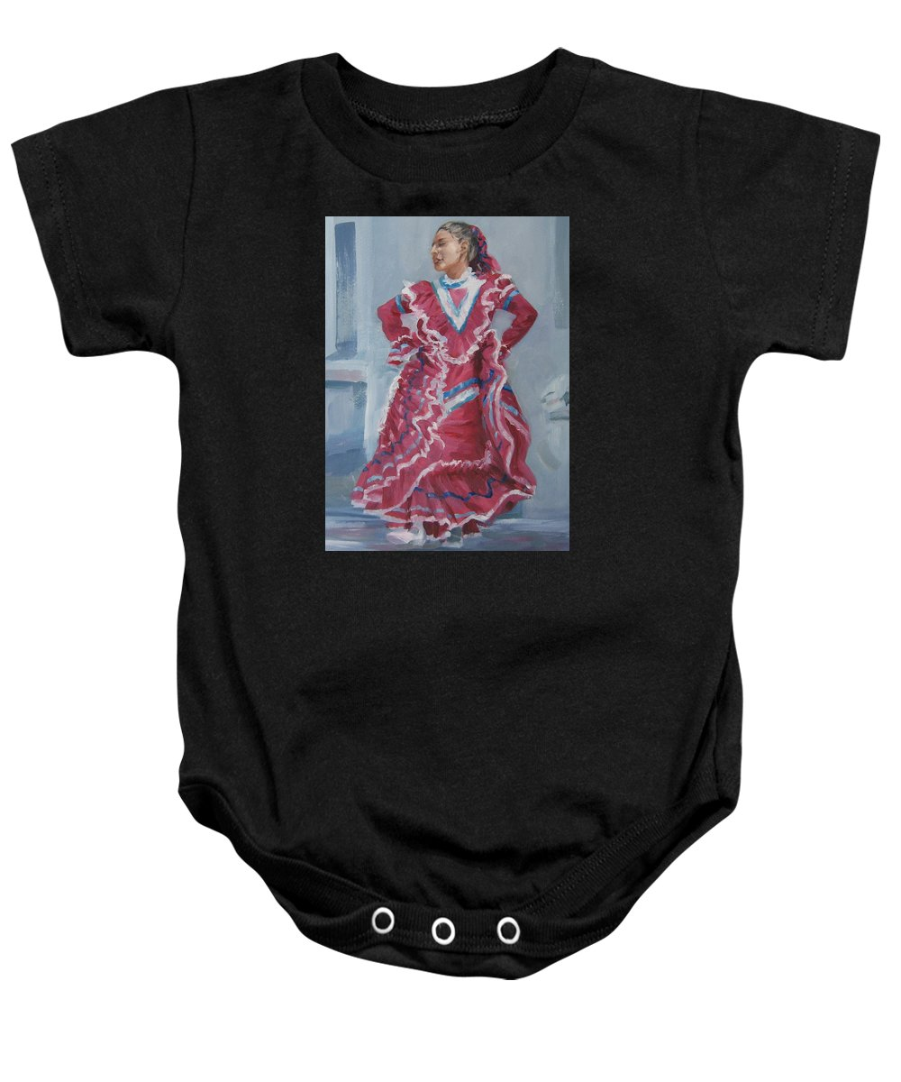 San Antonio Baby Onesie featuring the painting Young Dancer At Arneson Theater by Connie Schaertl