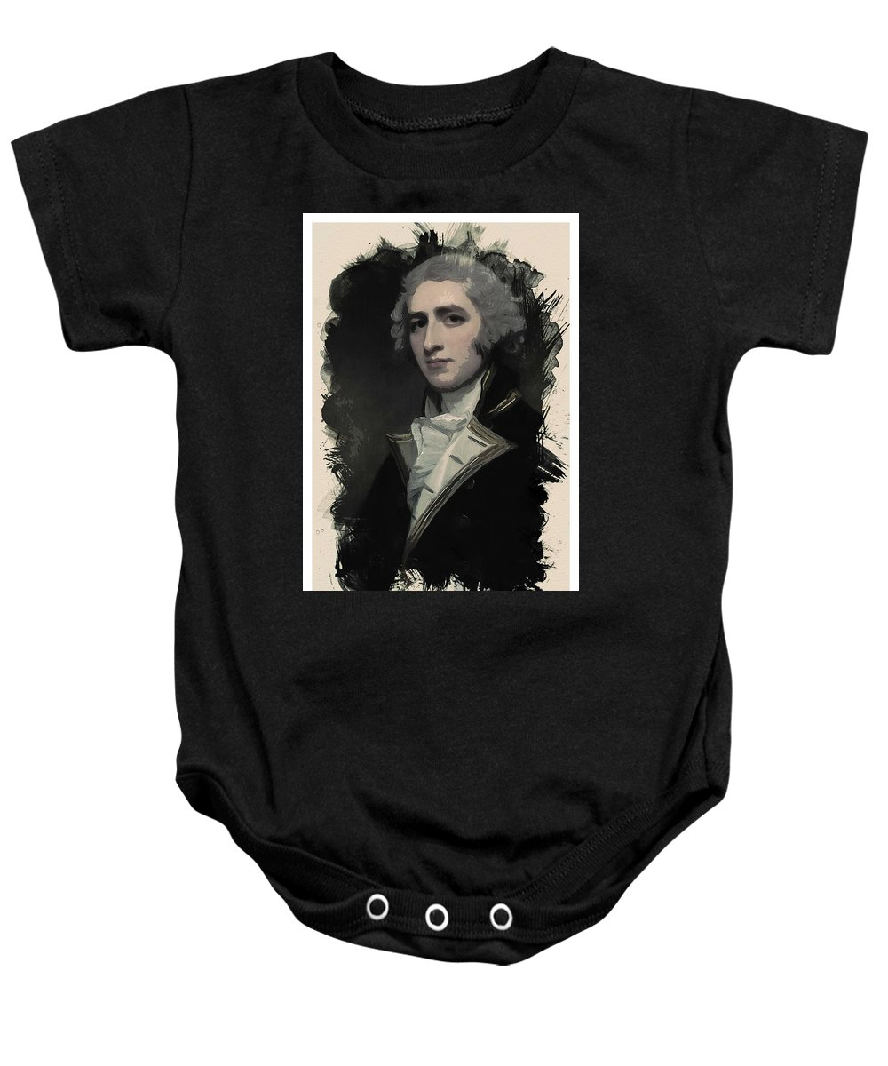 Man Baby Onesie featuring the painting Young Faces From The Past Series By Adam Asar, No 55 by Adam Asar