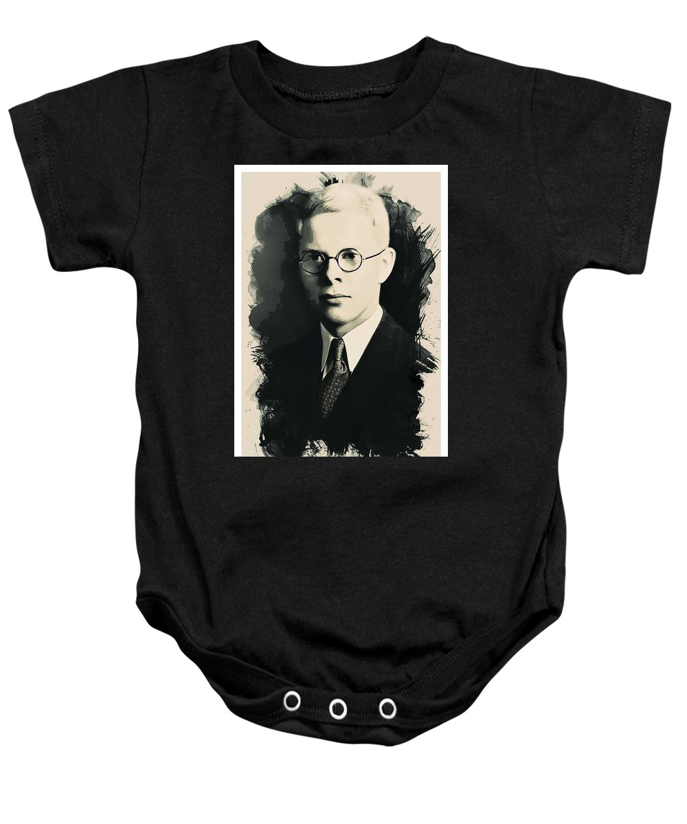 Man Baby Onesie featuring the painting Young Faces From The Past Series By Adam Asar, No 6 by Adam Asar