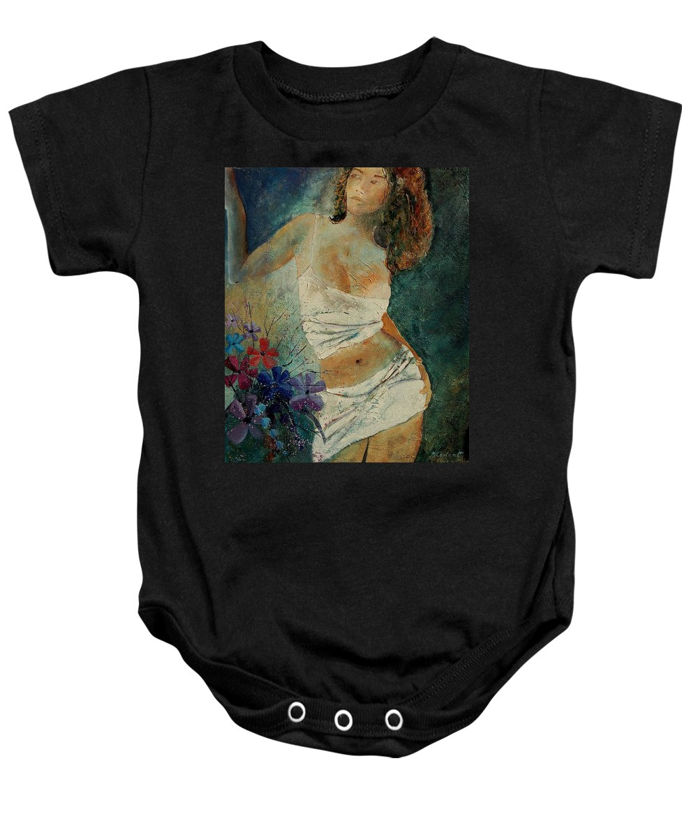 Girl Baby Onesie featuring the painting Young Girl 5625632 by Pol Ledent