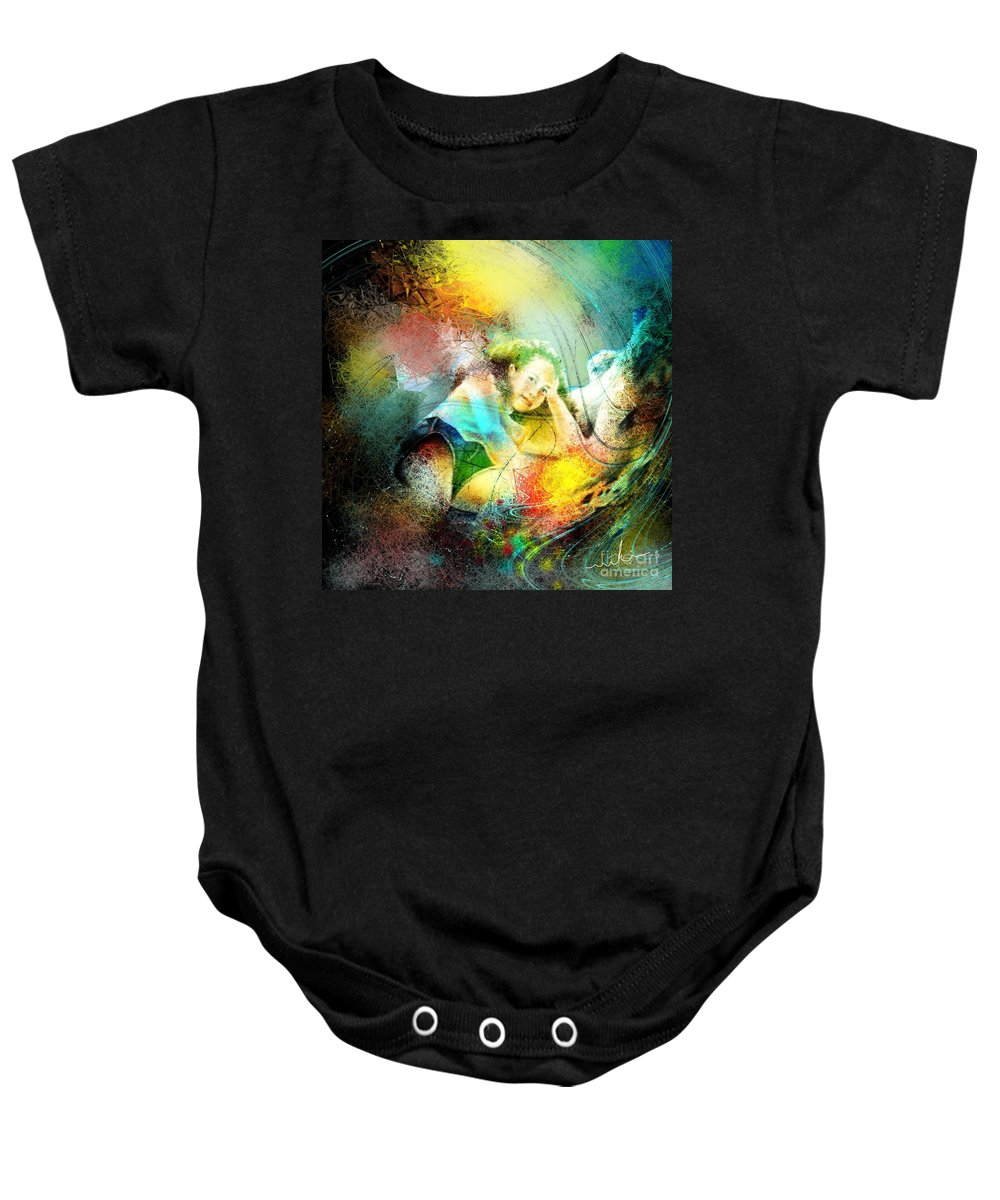 Nature Baby Onesie featuring the painting Young Seduction by Miki De Goodaboom