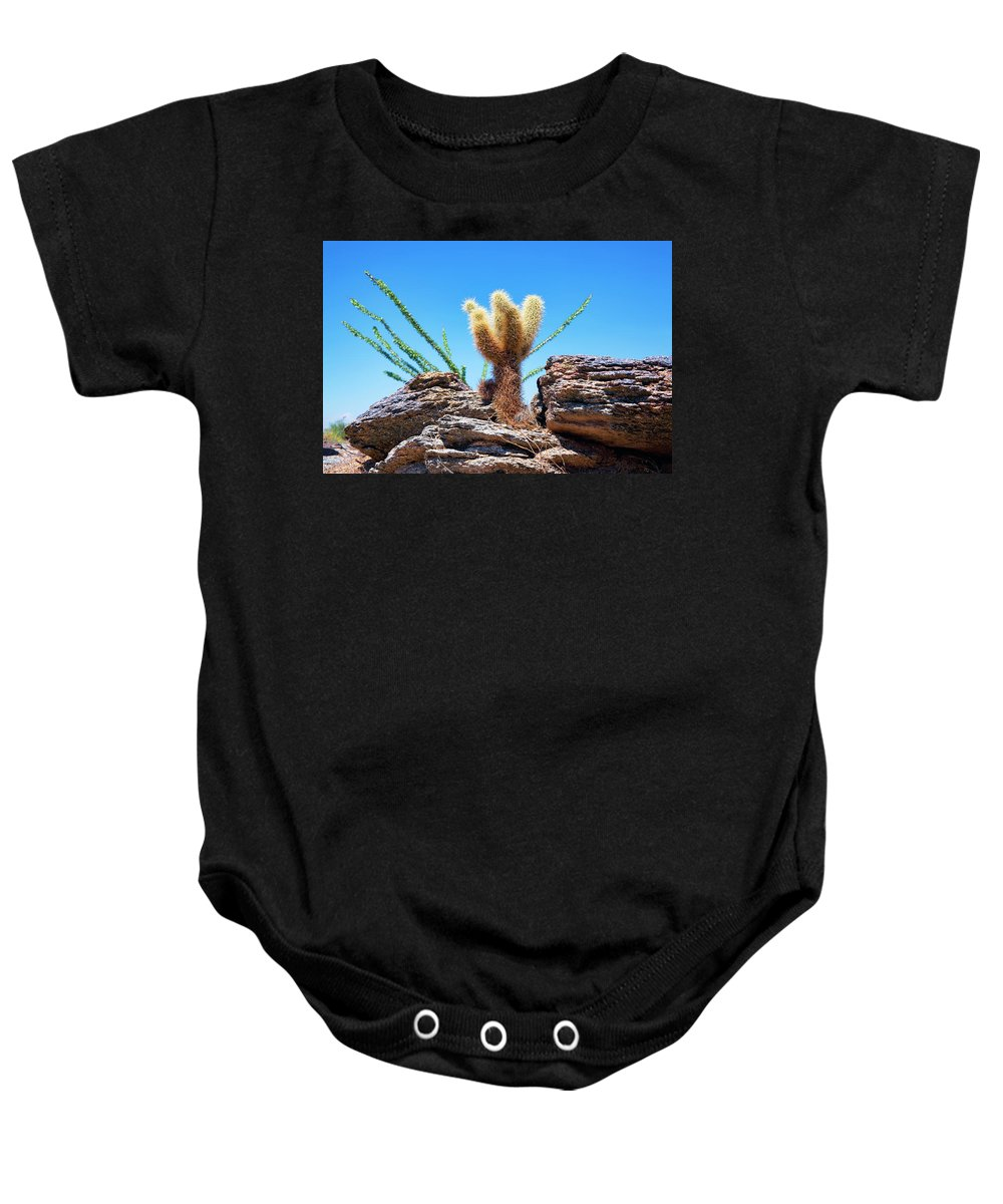 Teddy Baby Onesie featuring the photograph Young Teddy Bear Cholla by Kelley King