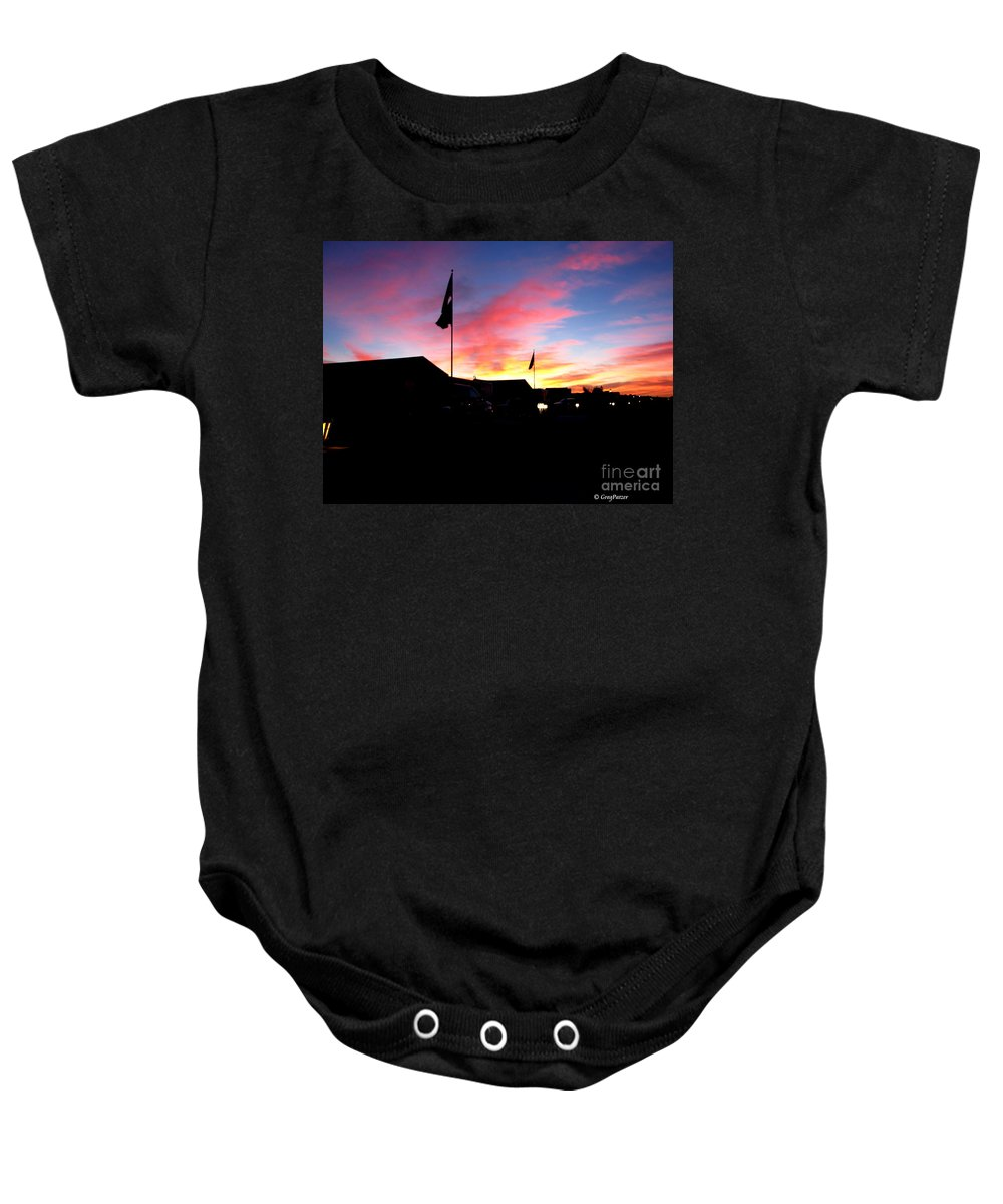 Patzer Baby Onesie featuring the photograph Yuma Sky by Greg Patzer
