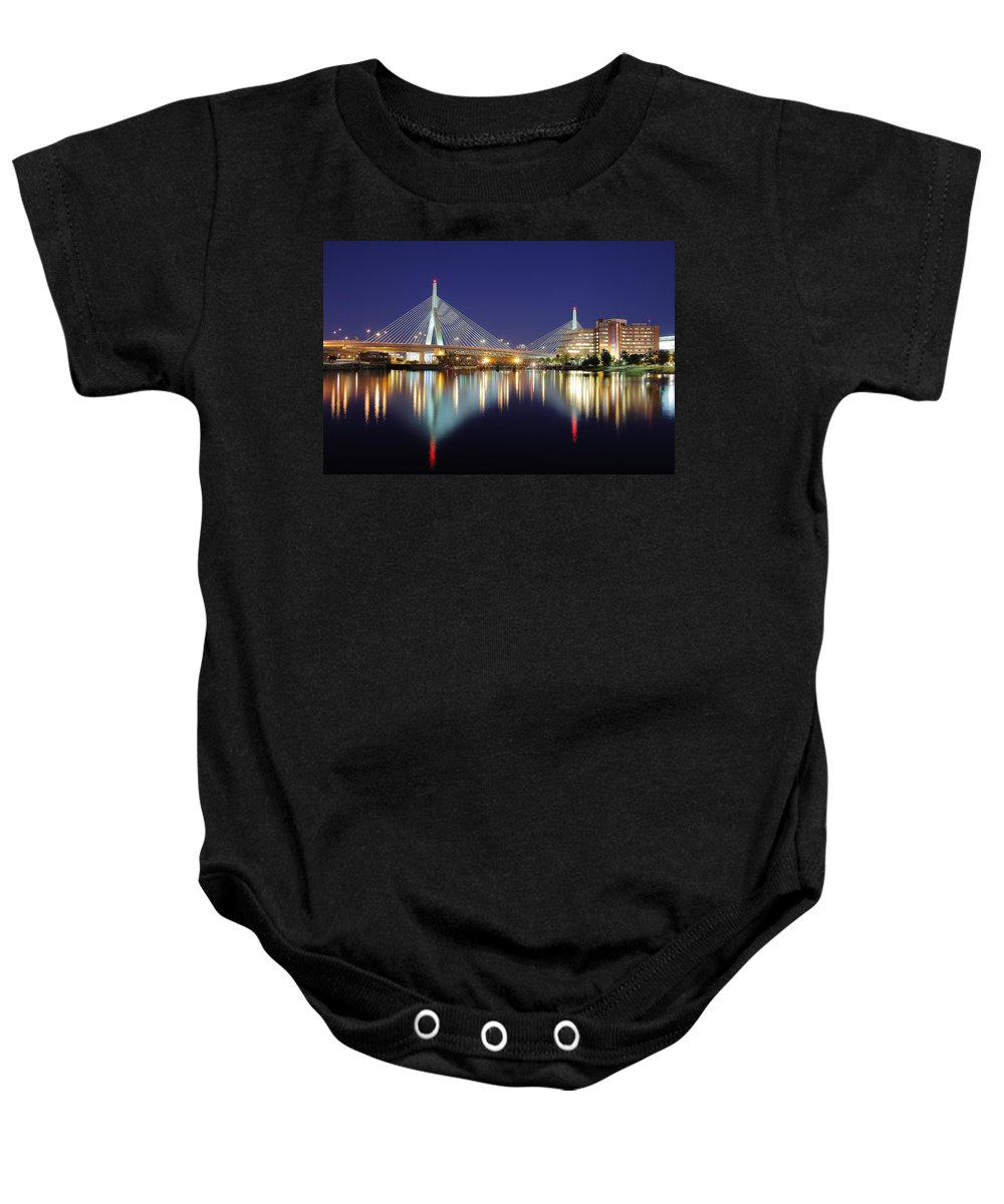 Boston Baby Onesie featuring the photograph Zakim Aglow by Rick Berk