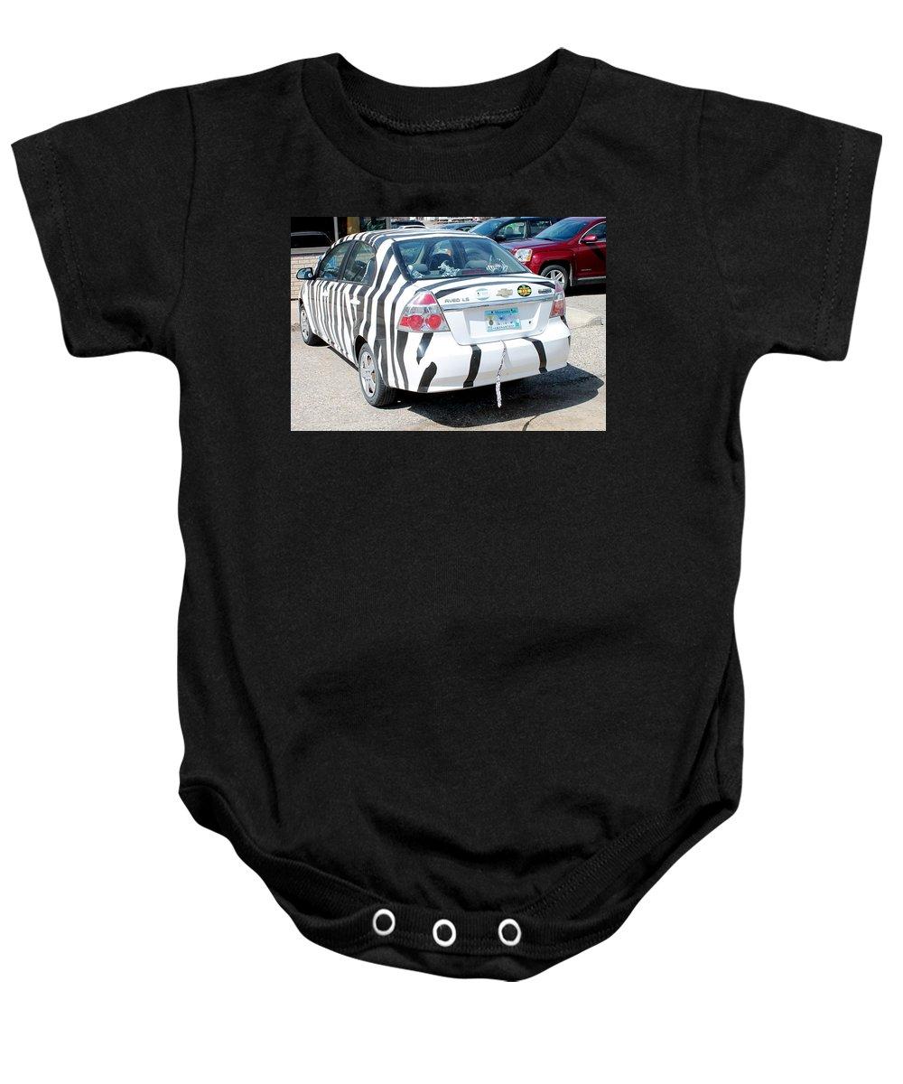 Car Baby Onesie featuring the photograph Zebra Car Rear by Wayne Williams