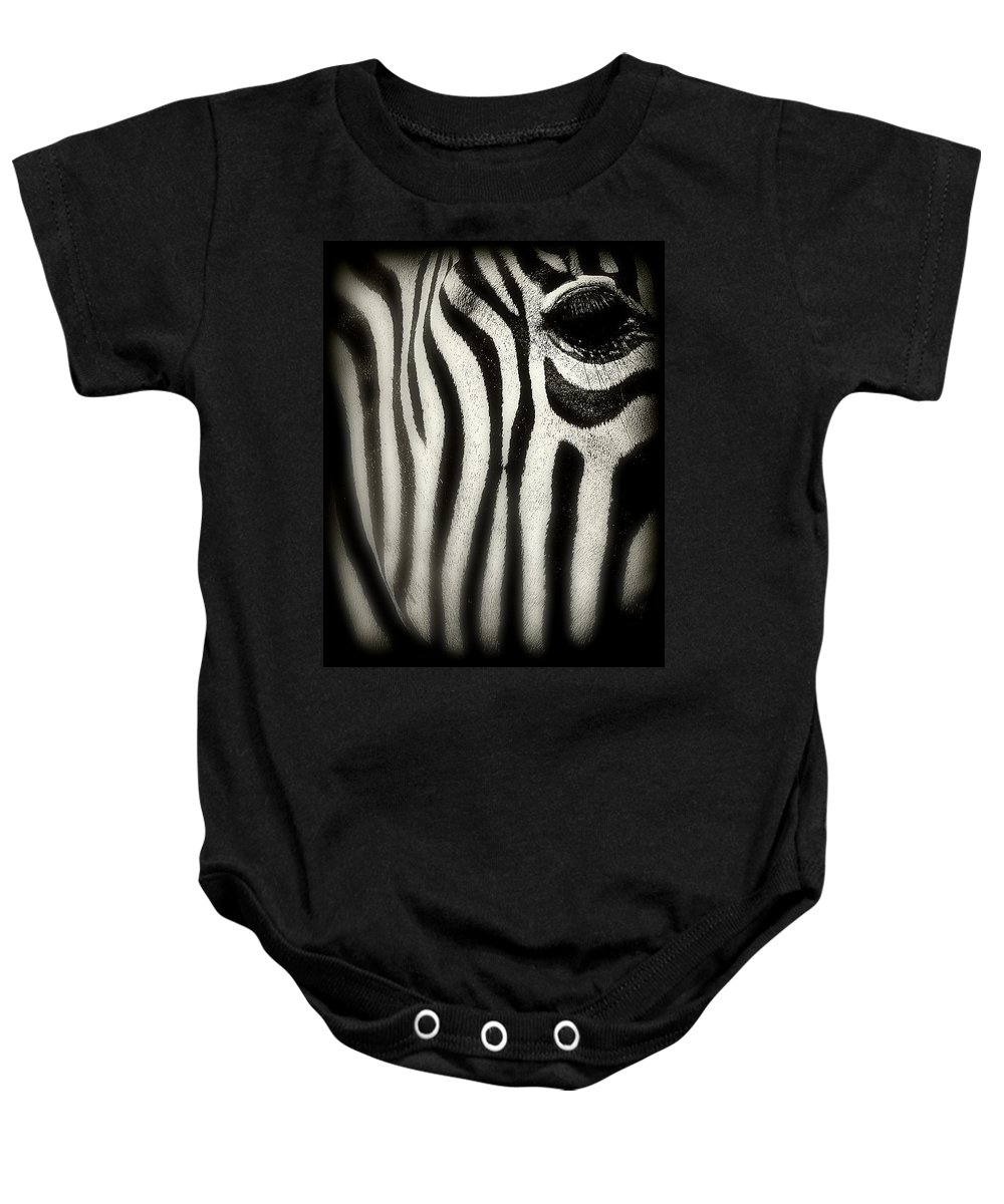 Zebra Baby Onesie featuring the photograph Zebra by Perry Webster