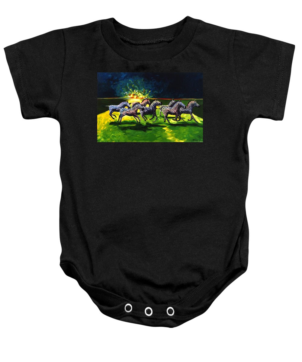 Modern Baby Onesie featuring the painting Zebz by Lance Headlee