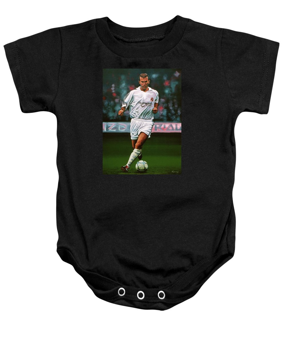 220f196e3 Zinedine Zidane Baby Onesie featuring the painting Zidane At Real Madrid  Painting by Paul Meijering