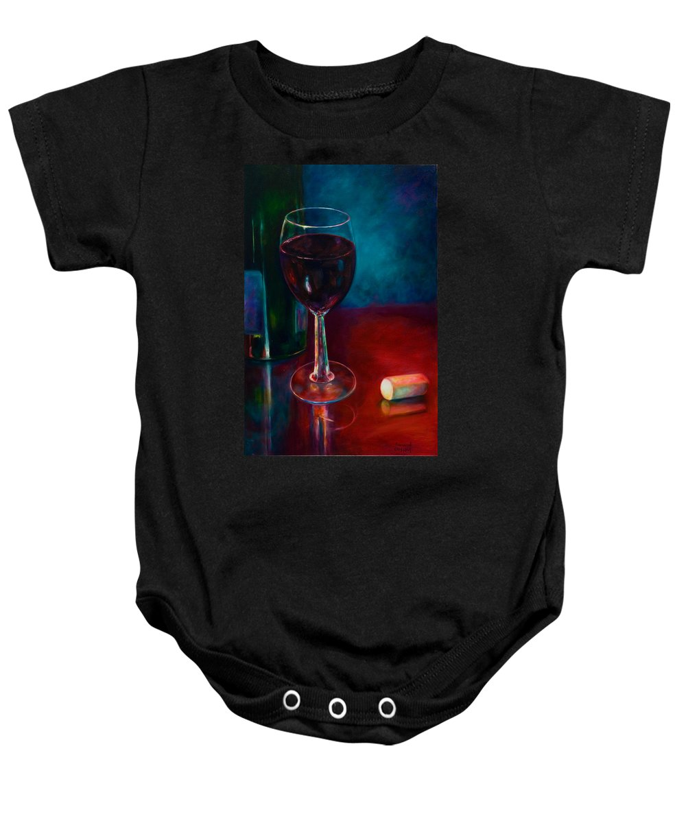 Wine Bottle Baby Onesie featuring the painting Zinfandel by Shannon Grissom