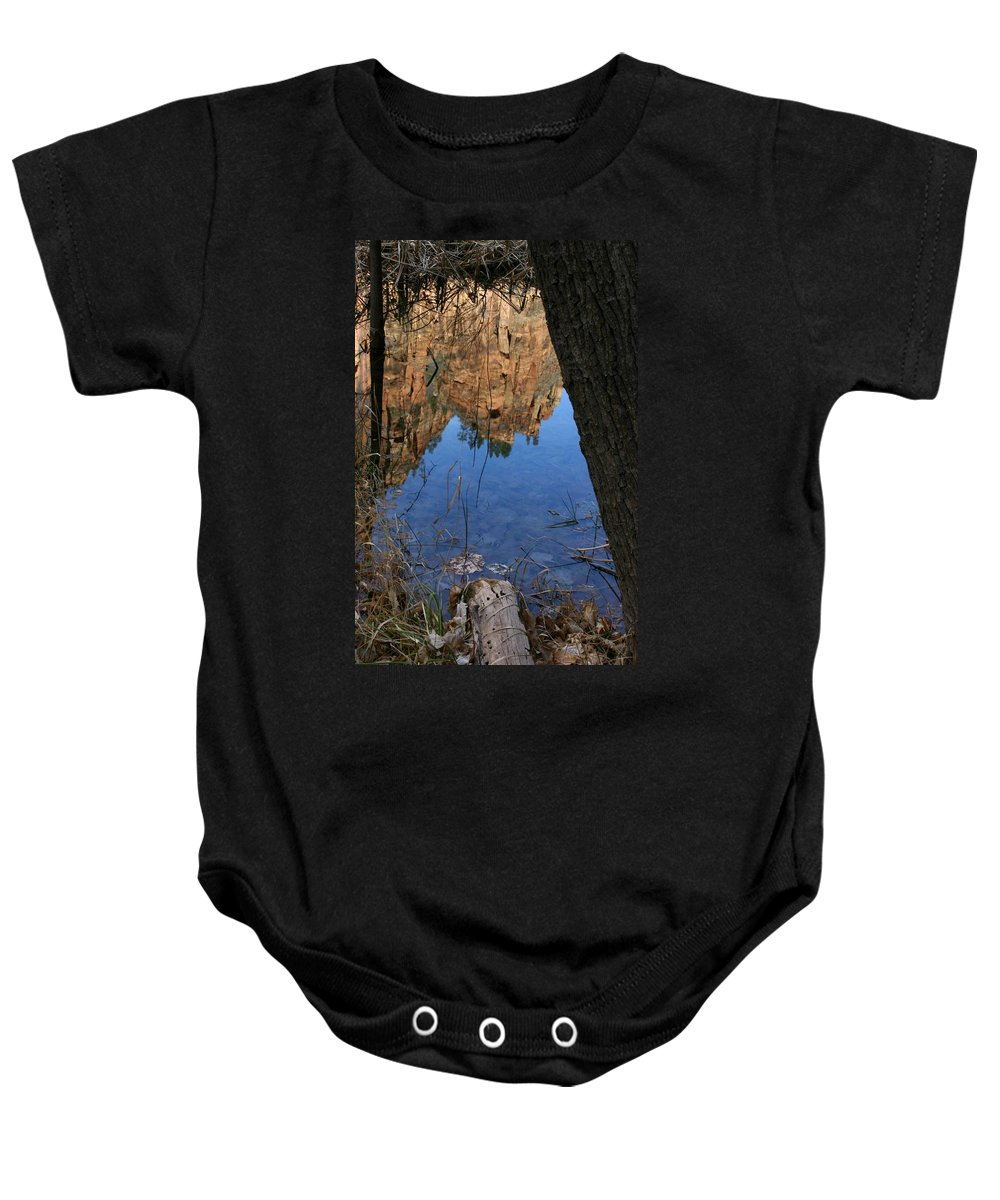 Zion Baby Onesie featuring the photograph Zion Reflections by Nelson Strong