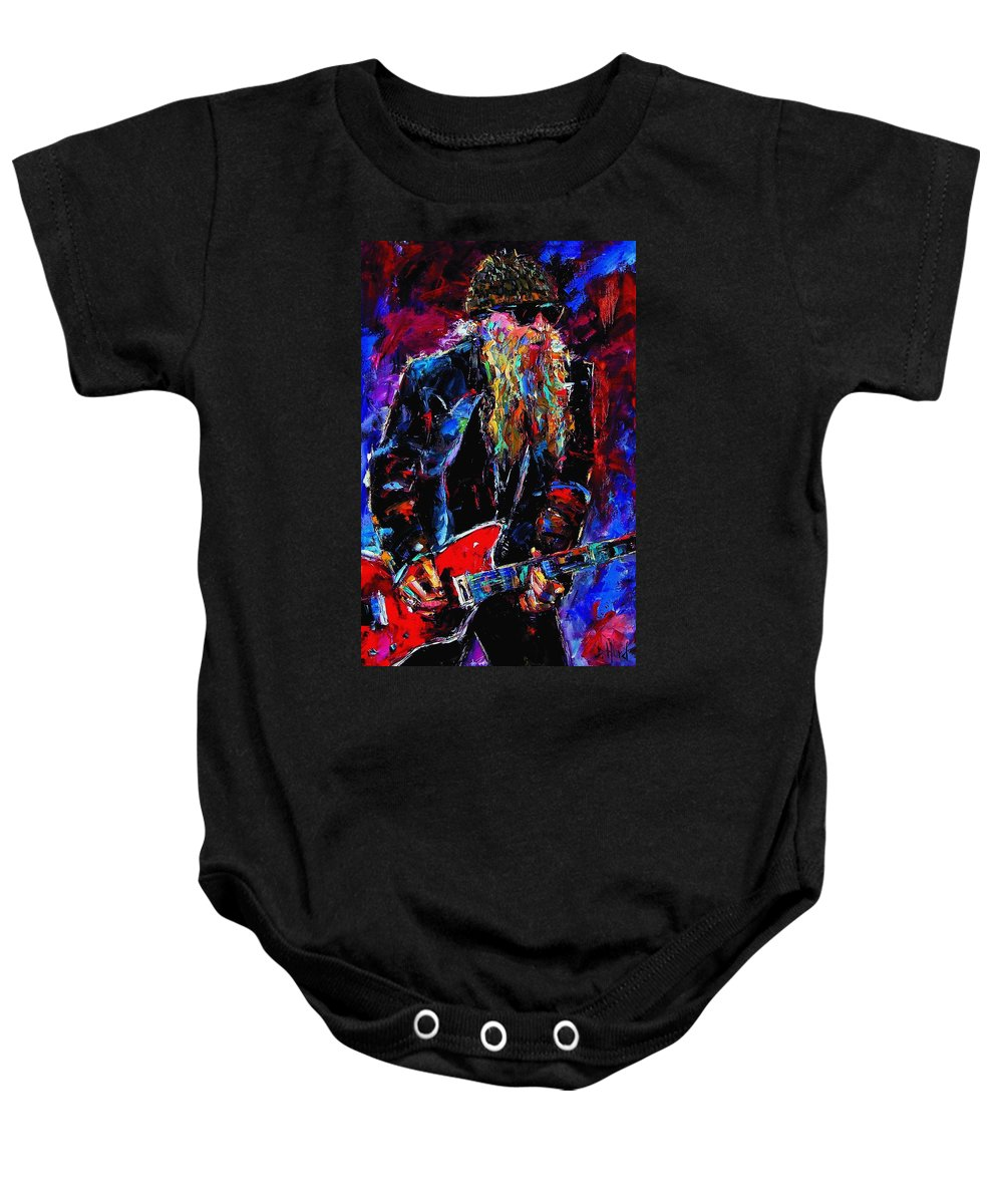 Music Baby Onesie featuring the painting Zz Top Billie Gibbons by Debra Hurd