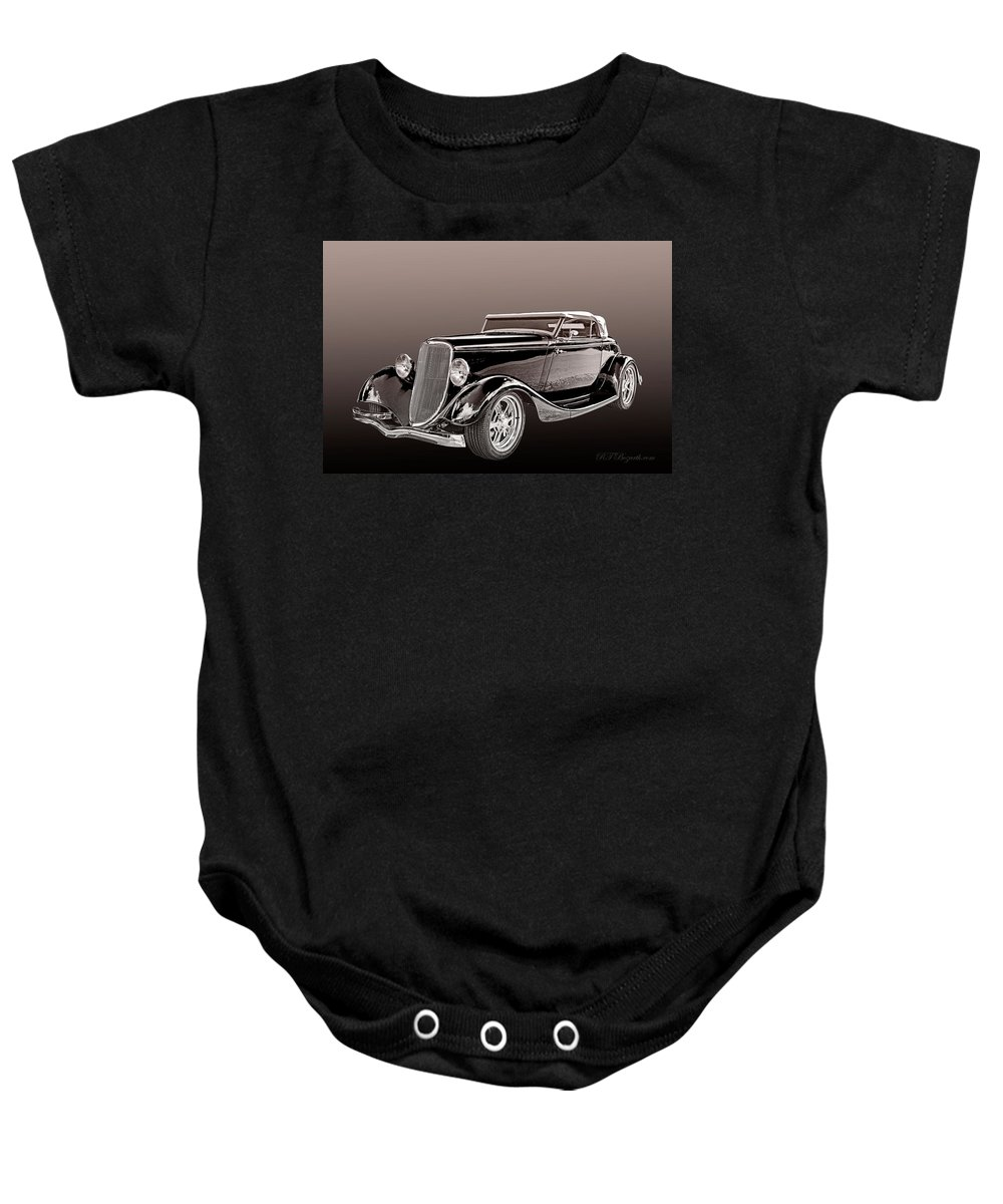 1934 Ford Roadster Man Baby Onesie featuring the digital art 1934 Ford Roadster by RT Bozarth