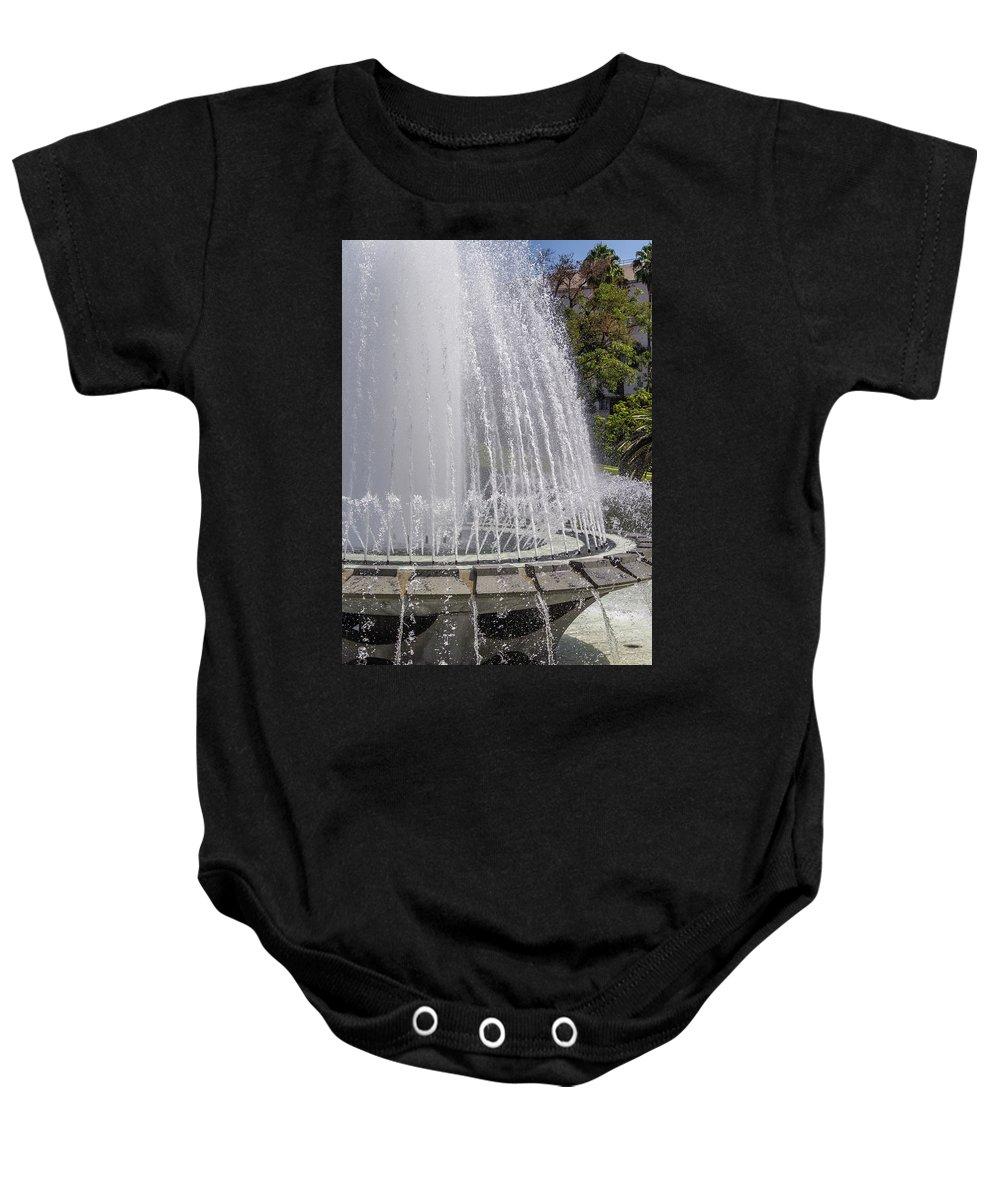 Arthur J. Will Memorial Baby Onesie featuring the photograph Arthur J. Will Memorial Fountain At Grand Park by Roslyn Wilkins