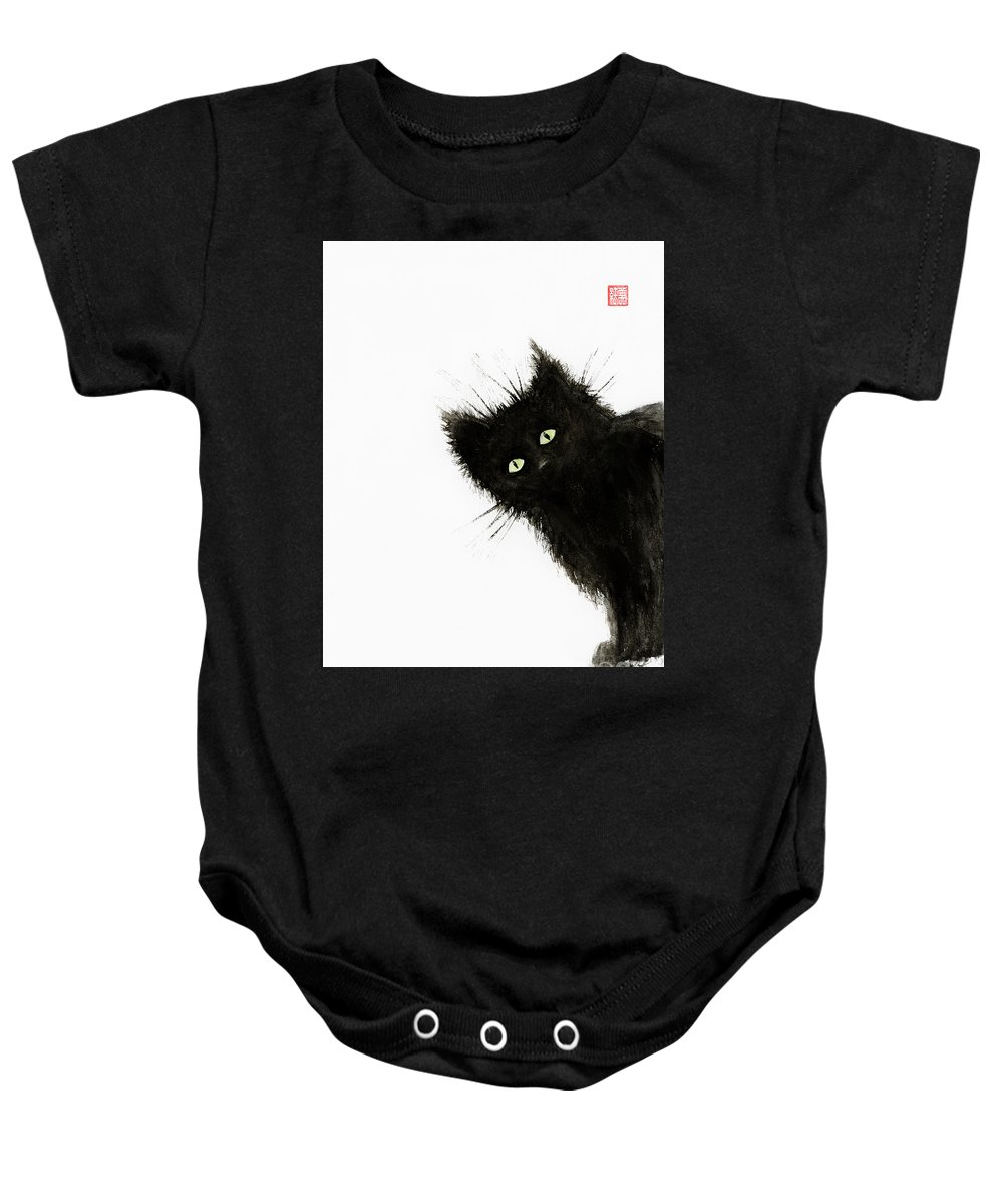 Cat Baby Onesie featuring the painting Black Fuzzy Cat Peaking From Around The Corner by Awen Fine Art Prints