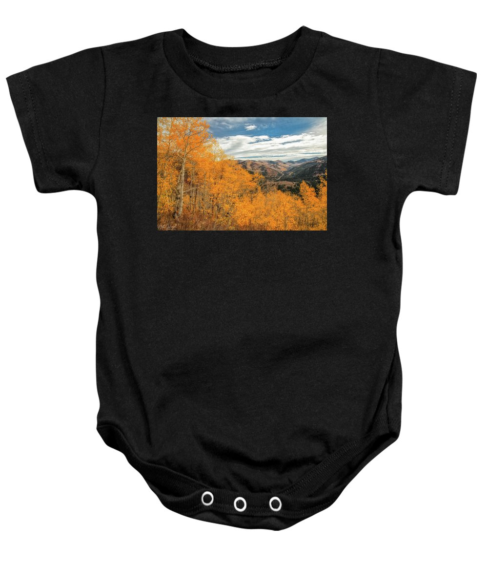 Utah Baby Onesie featuring the photograph View Of Peaks by Mitch Johanson