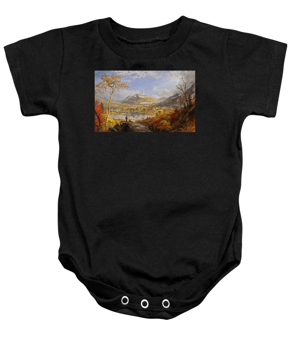 Starrucca Viaduct Baby Onesie featuring the painting Starrucca Viaduct, Pennsylvania by Jasper Francis Cropsey