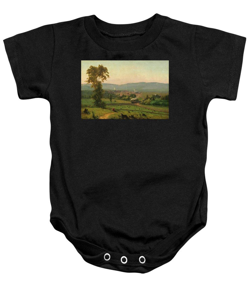 The Lackawanna Valley Baby Onesie featuring the painting The Lackawanna Valley by George Inness