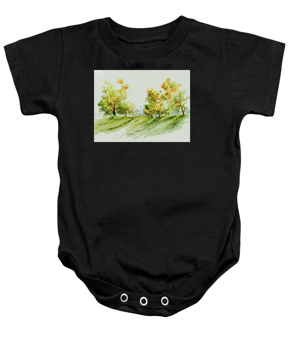 Landscape Baby Onesie featuring the painting A Simple Landscape by Rowena Delfter