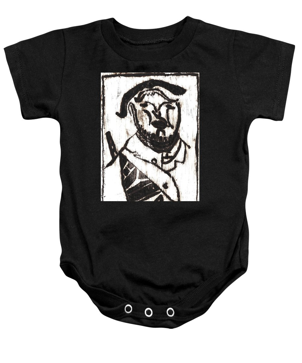 Michel Larionov Baby Onesie featuring the painting After Mikhail Larionov Black Oil Painting 2 by Edgeworth DotBlog
