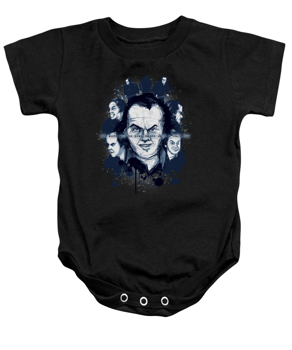 Jack Baby Onesie featuring the drawing All Work and No Play by Ludwig Van Bacon