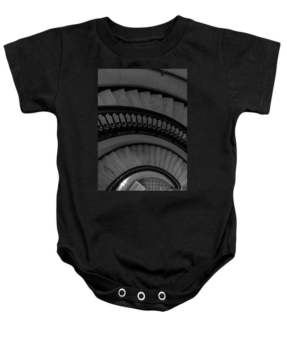 Abstract Baby Onesie featuring the photograph Arlington Stairs Layers Grayscale by Jennifer White