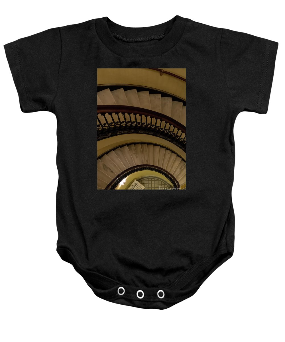 Abstract Baby Onesie featuring the photograph Arlington Stairs Layers by Jennifer White